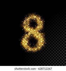 Gold glittering number eight. Vector shining golden font figure lettering of sparkles on black background.