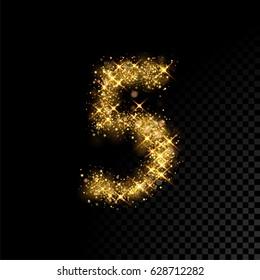 Gold glittering number five. Vector shining golden font figure lettering of sparkles on black background.