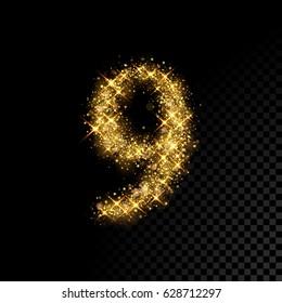 Gold glittering number nine. Vector shining golden font figure lettering of sparkles on black background.