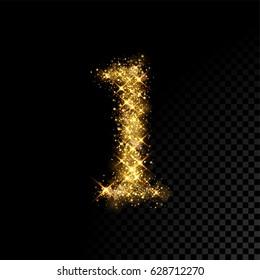 Gold glittering number one. Vector shining golden font figure lettering of sparkles on black background.