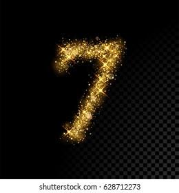 Gold glittering number seven. Vector shining golden font figure lettering of sparkles on black background.