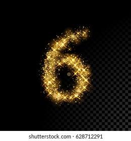 Gold glittering number six. Vector shining golden font figure lettering of sparkles on black background.