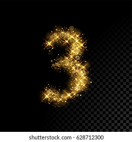 Gold glittering number three. Vector shining golden font figure lettering of sparkles on black background.