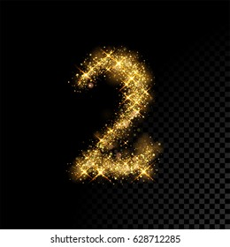 Gold glittering number two. Vector shining golden font figure lettering of sparkles on black background.