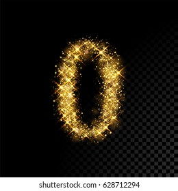 Gold glittering number zero. Vector shining golden font null figure lettering of sparkles on black background.
