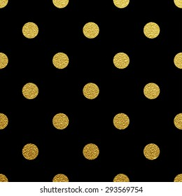 Gold glittering polka dot seamless pattern on black background.