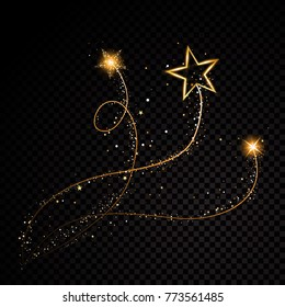 Gold glittering spiral star dust trail sparkling particles on transparent background. Space comet tail. Vector glamour fashion illustration