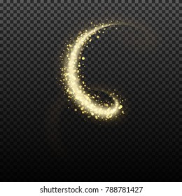 Gold glittering star dust lights. Illustration isolated on transparent background. Graphic concept for your design
