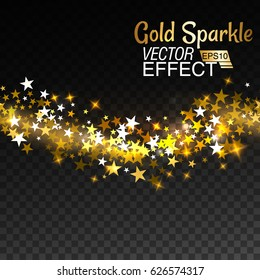 Gold glittering star sparkling particles on transparent background. Vector illustration