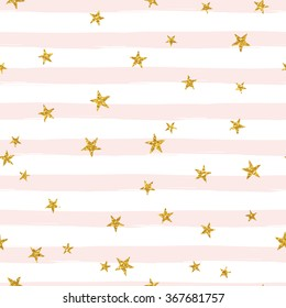 Gold glittering stars confetti seamless pattern on stripe background