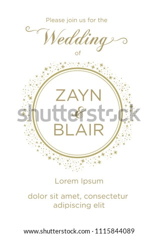 Gold Glitters Stars Wedding Invitation Card Stock Vector Royalty
