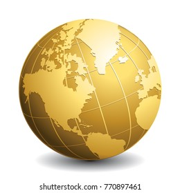 Gold globe icon. Glossy Earth business industry vector concept.