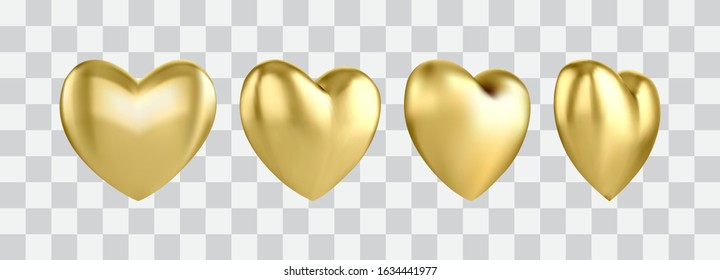 Gold glossy 3D heart shape isolated on a transparent background. A symbol of love, an element for decorating holidays, wedding invitations, and greetings. A heart of gold in different angles