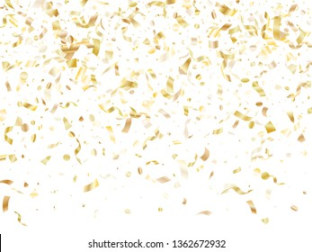 Gold glossy realistic confetti flying on white holiday card background. Luxurious flying sparkle elements, gold foil gradient serpentine streamers confetti falling new year background.