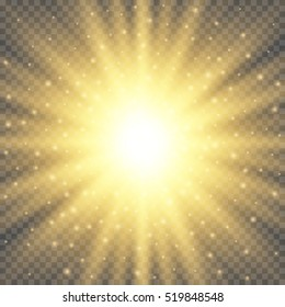 Gold glowing circle light burst explosion on transparent background. Bright flare effect decoration with ray sparkles. Transparent shine gradient glare texture. Vector illustration lights effect eps10