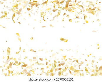 Gold glowing confetti flying on white holiday vector design. Trendy flying tinsel elements, gold foil texture serpentine streamers confetti falling party vector.