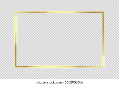 Gold glowing frame with shiny shadows isolated on transparent background Vector illustration eps 10