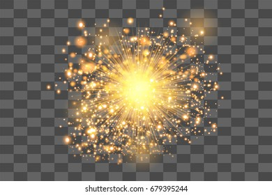 gold glowing light burst explosion with transparent. Vector illustration for decoration with ray sparkles. Bright star. Transparent shine gradient glitter, bright flare. Glare texture.