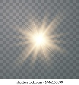 Gold glowing light explodes on a transparent background. Sparkling magical dust particles. Bright Star. Transparent shining sun, bright flash. Vector sparkles.
