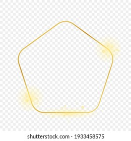 Gold glowing rounded pentagon shape frame isolated on transparent background. Shiny frame with glowing effects. Vector illustration.