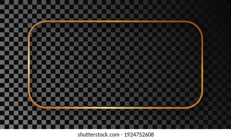 Gold glowing rounded rectangular frame with shadow isolated on dark transparent background. Shiny frame with glowing effects. Vector illustration.