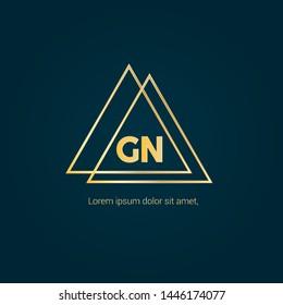 Gold GN company linked letter logo concept. Designed for your web site design, logo, app, UI. Gold initial logo design. GN gold logo.luxury design and color.Triangle shape