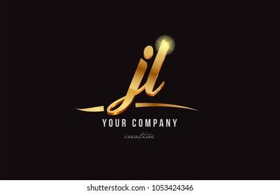 gold golden alphabet letter jl j l logo combination design suitable for a company or business