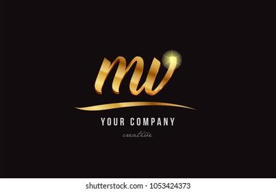 gold golden alphabet letter mv m v logo combination design suitable for a company or business
