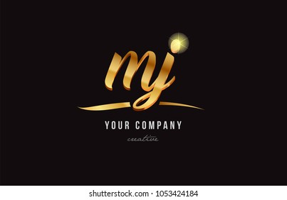gold golden alphabet letter my m y logo combination design suitable for a company or business
