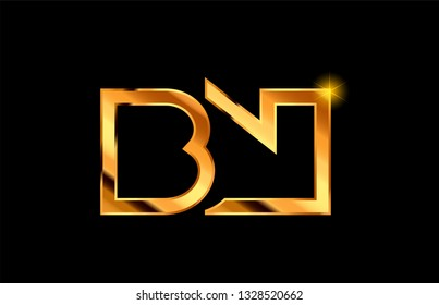 gold golden metal alphabet letter logo combination bn b n design suitable for a company or business