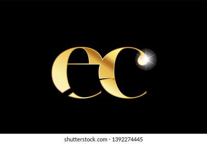 gold golden metal metallic alphabet letter ec e c logo icon design for a company or business