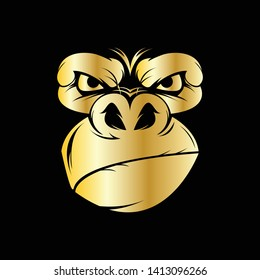 gold gorilla head for sport logo with black background