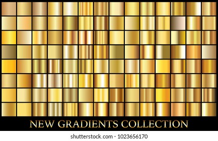 Gold gradient background set vector icon texture metallic illustration for frame, ribbon, banner, coin and label. Realistic abstract golden design seamless pattern. Elegant light and shine template