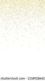 Gold Gradient Background. Yellow, Golden and Gold Circles on White Background. Vector Colorful Circles Confetti Isolated on White Background. Circles Confetti Fall From Top To Bottom. Postcard Design.
