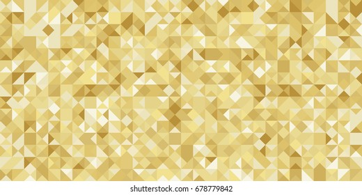 Gold gradient geometric greeting card, banner, seamless pattern. Vector luxury background