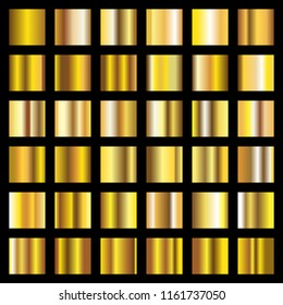 Gold gradient. Golden metal squares vector collection. Metal shiny golden, gold square smooth illustration