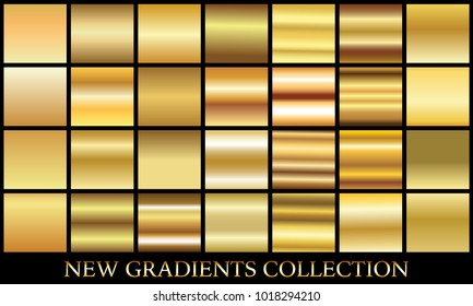 Gold gradient set background vector icon texture metallic illustration