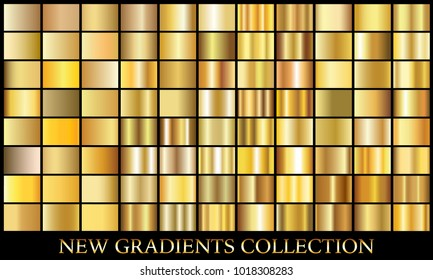 Gold gradient set background vector icon texture metallic illustration for frame, ribbon, banner, coin and label. Realistic abstract golden design seamless pattern. Elegant light and shine template