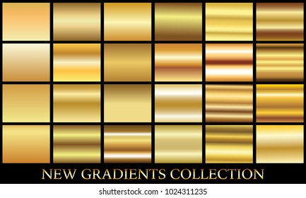 Gold gradient set background vector icon texture metallic illustration for frame, ribbon, banner, coin and label. Realistic abstract golden design seamless pattern. Elegant light shine template