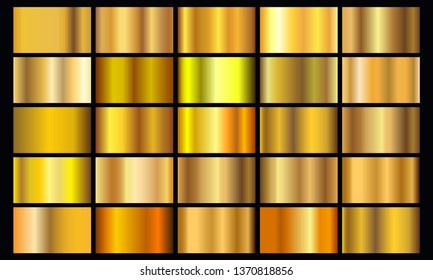 Gold gradient texture pack. Shiny golden metal foil gradient set, vector illustration
