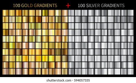 Gold gradients 100 big set. Mega collection of golden gradient illustrations for backgrounds, cover, frame, ribbon, banner, coin, label, flyer, card etc. Vector template EPS10