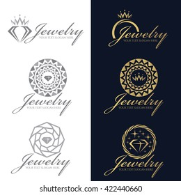 Gold and gray Jewelry logo vector set design