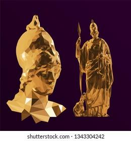 Gold Greek Goddess Athena. Set of Sculptures on Purple Background. Low Poly Vector 3D Rendering