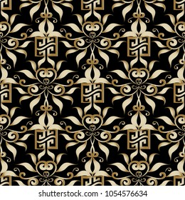 Gold greek key seamless pattern. Vector floral black background with golden hand drawn vintage damask flowers, swirl lines, leaves and abstract modern meander ornaments. Luxury surface design.