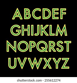 Gold and green font with bulbs vector illustration.