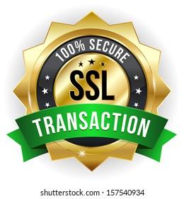 Gold green secure transaction badge