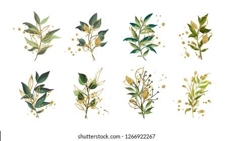Gold green tropical leaves wedding bouquet with golden splatters isolated on white background. Floral vector illustration arrangement in watercolor style. Botanical art design