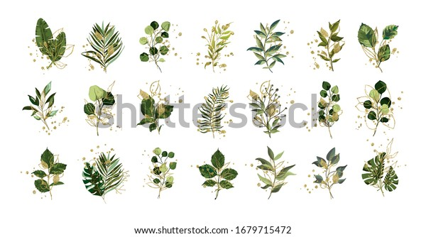 Gold green tropical leaves wedding bouquet with golden splatters isolated on white background. Floral foliage vector illustration arrangement in watercolor style. Botanical art design