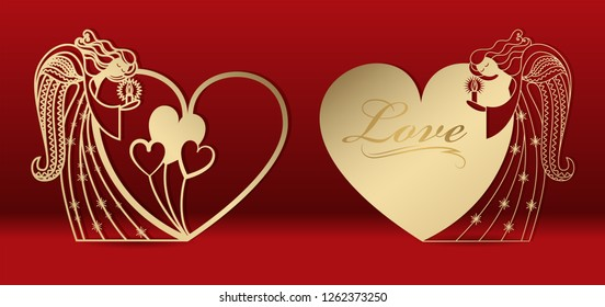 Gold greeting card with an angel for laser cutting. Template carving pattern for cards, invitations to the Day of lovers, wedding, Angel Day. Cutting through paper, cardboard. Vector.