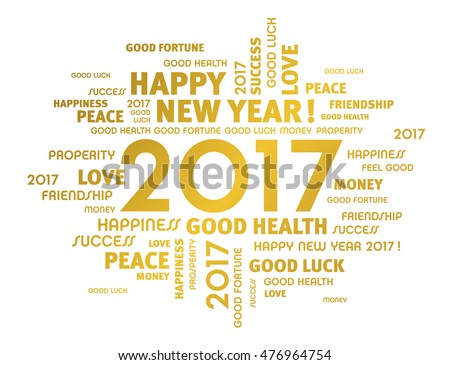 Gold Greeting Words Around 2017 Year Stock Vector (Royalty Free ...